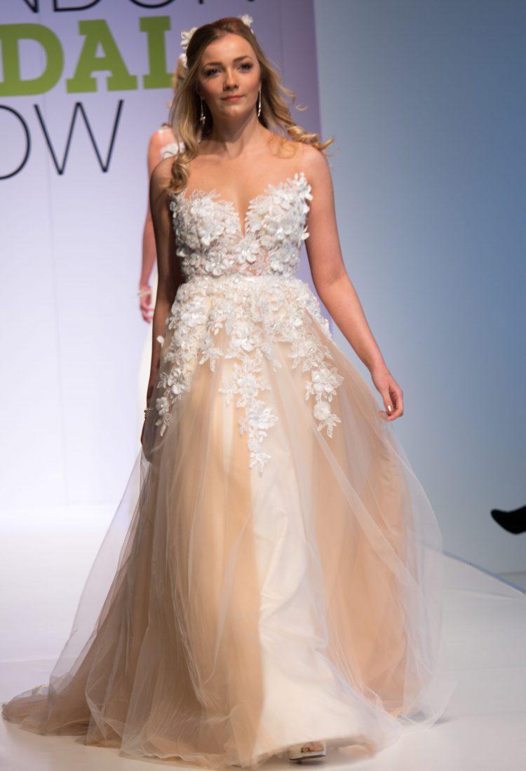 Powder wedding dress, bridal gown