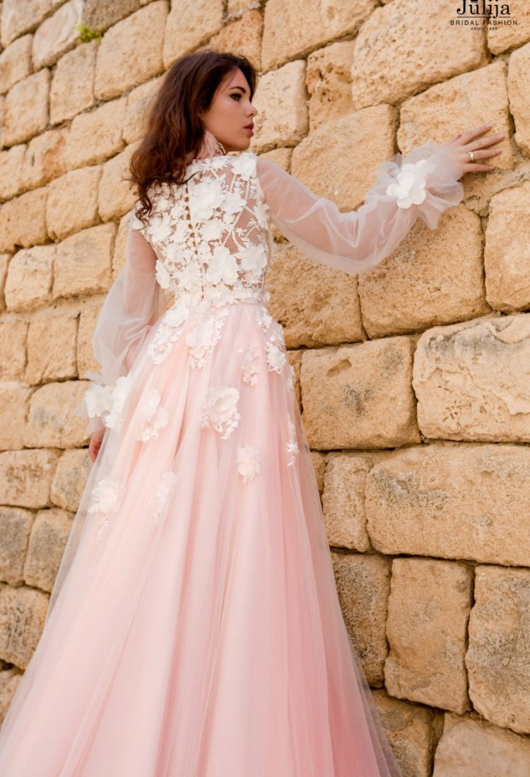 Flowers bridal dress with sleeves