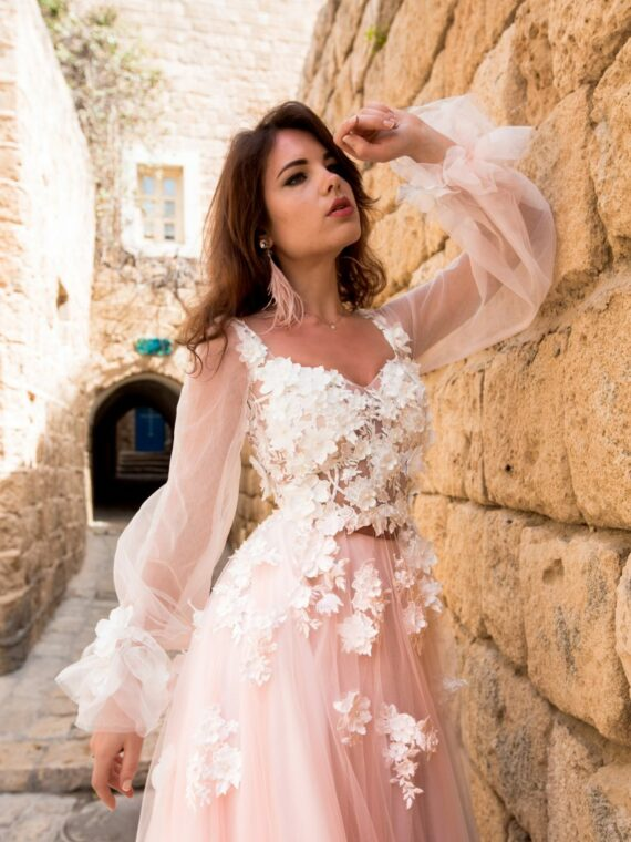 Flower wedding gown with long sleeves